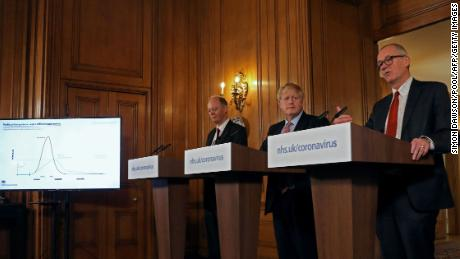 Boris Johnson, center, flanked by Chief Medical Officer for Britain, Chris Whitty, left, and Chief Scientific Adviser Patrick Vallance at a March 12 press conference.