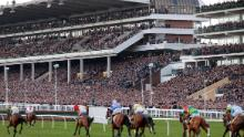 This stand was packed on the fourth day of the Cheltenham Festival on March 13. (Tom Jenkins / Getty Images)