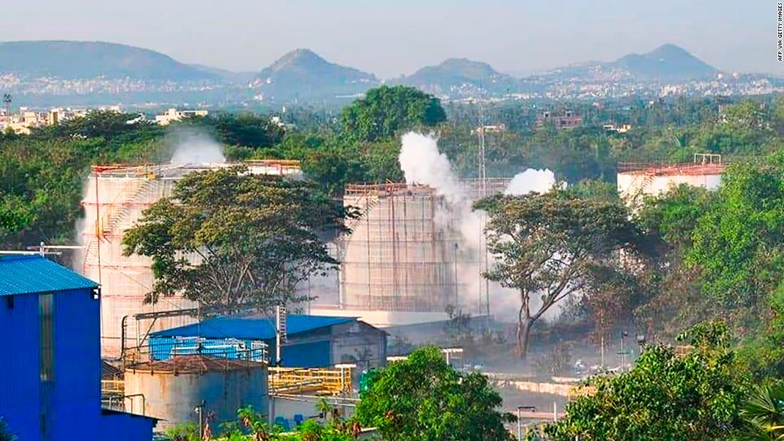 Smokes rise from an LG Polymers plant following a gas leak incident in Visakhapatnam, India, on May 7.