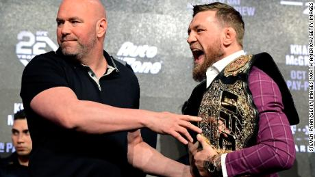 Conor McGregor was detained by UFC President Dana White during the UFC 229 Press Conference at Radio City Music Hall on September 20, 2018 in New York City.