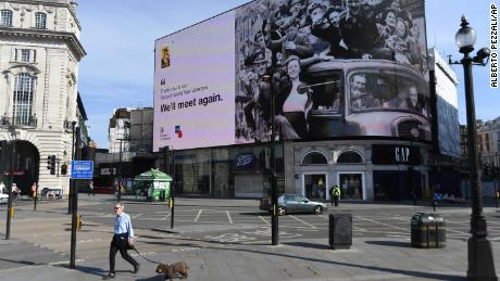 The VE Day tribute was shown at the quiet London Piccadilly Circus on Friday.