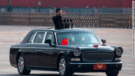 Chinese President Xi Jinping inspected troops during the parade to celebrate the 70th anniversary of the People's Republic of China on October 1, 2019 in Beijing.