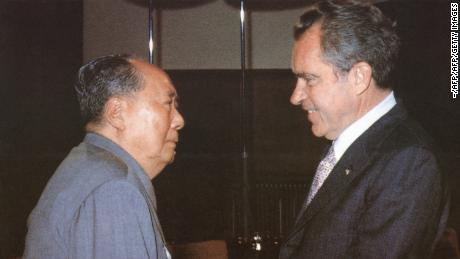 Chinese communist leader Chairman Mao Zedong welcomed US President Richard Nixon at his home in Beijing during Nixon's historic trip to China in 1972.