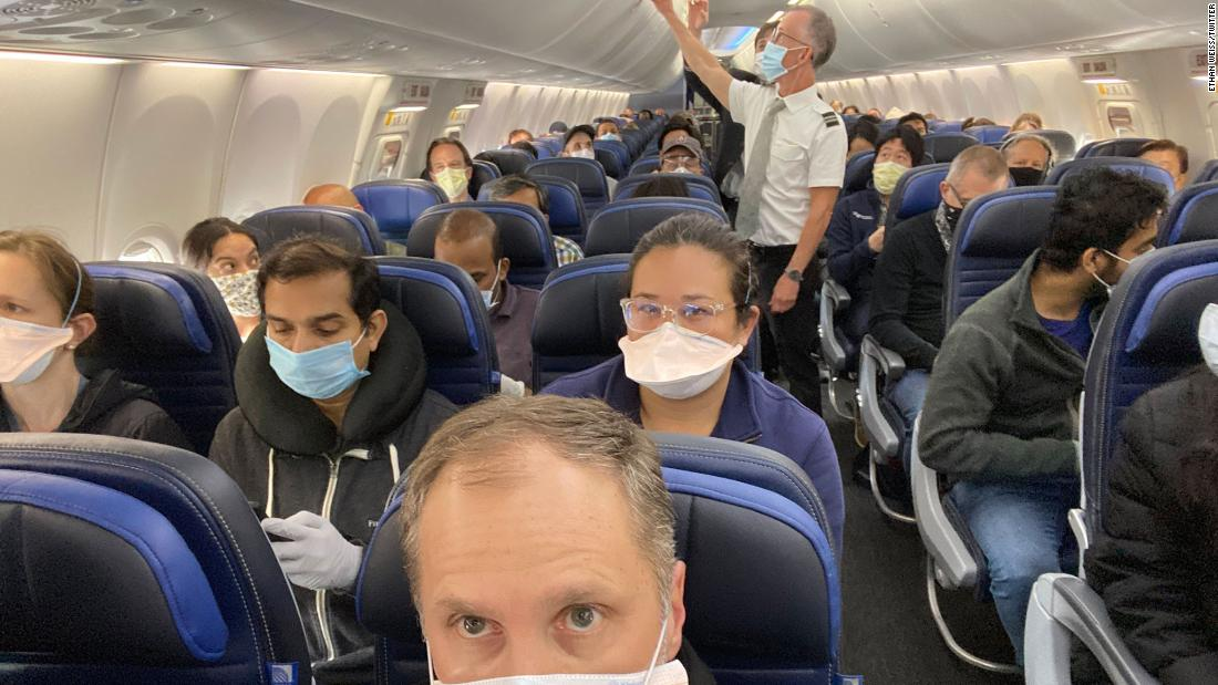United Airlines said it would try to make the middle seat empty. This photo shows an almost full flight