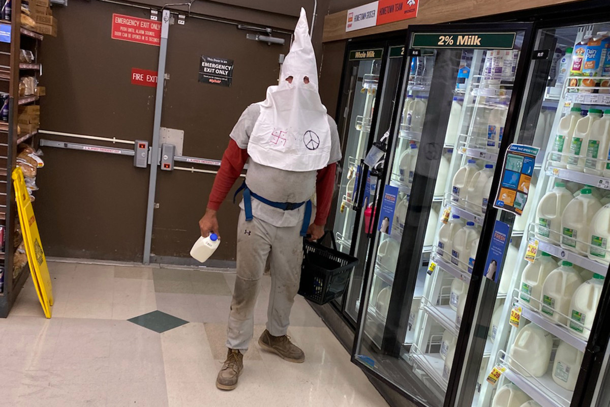 Colorado police are hunting for a man wearing a KKK hood in the grocery store