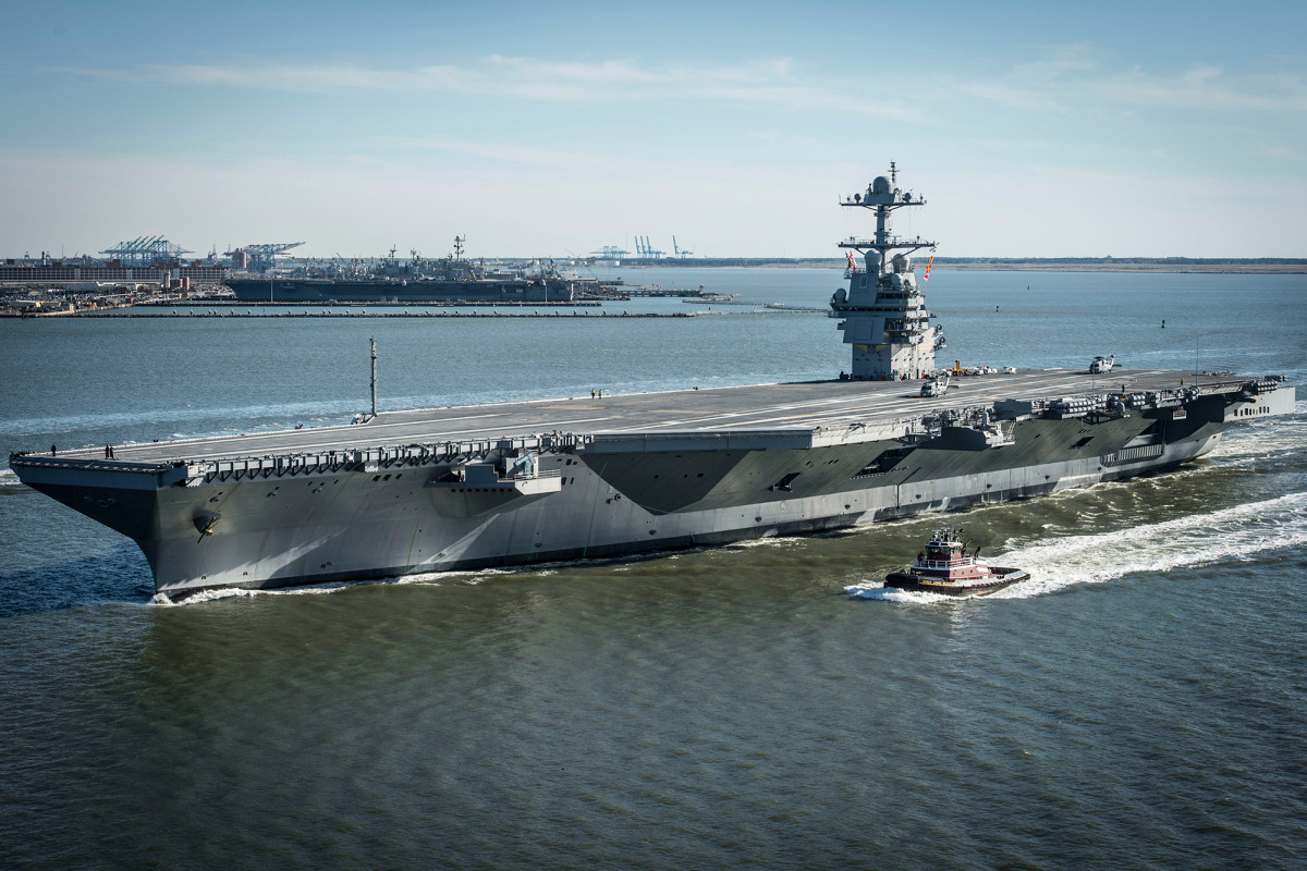 Squadron picked up USS Gerald Ford after sailor tests positive for corona virus