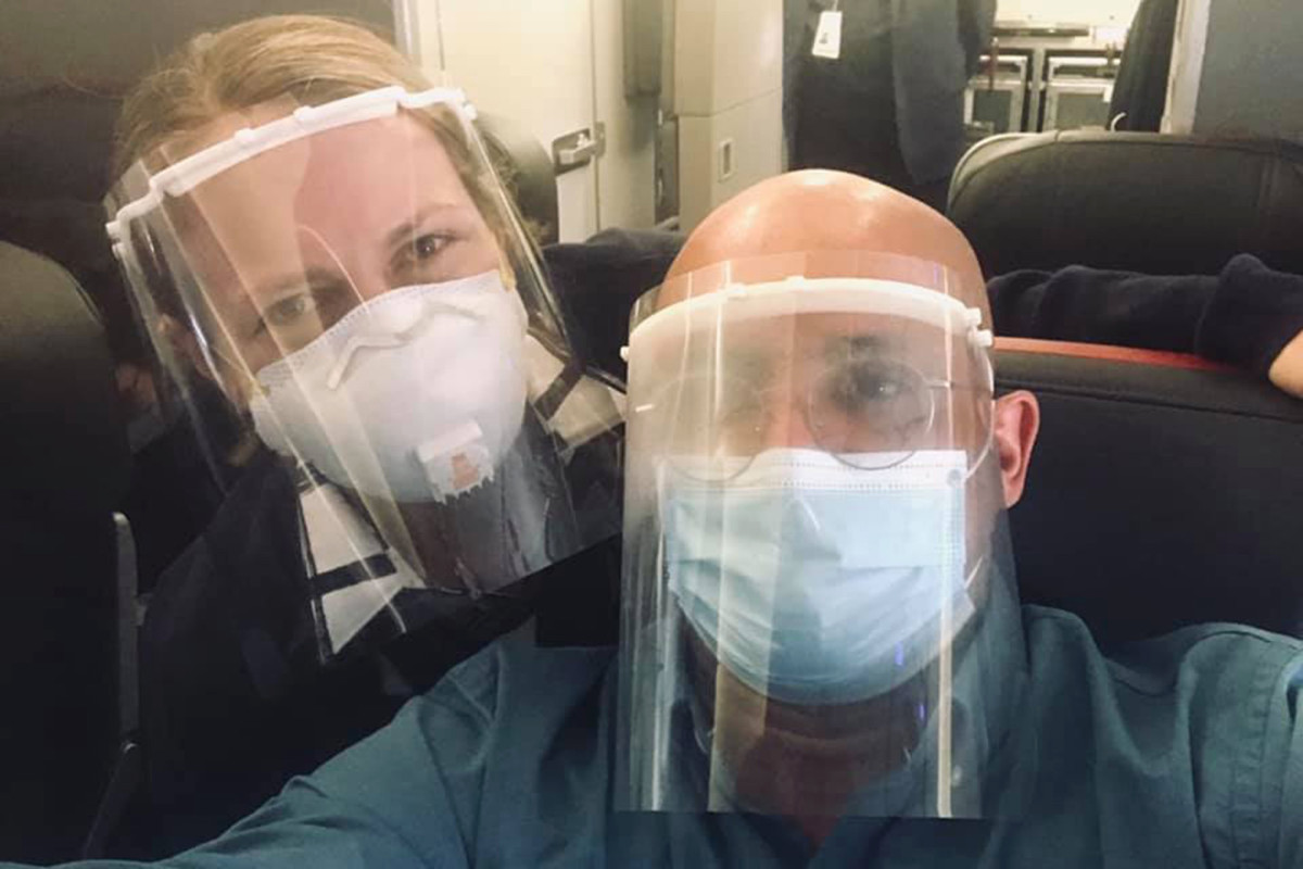 American Airlines stopped the flight attendant with a face shield