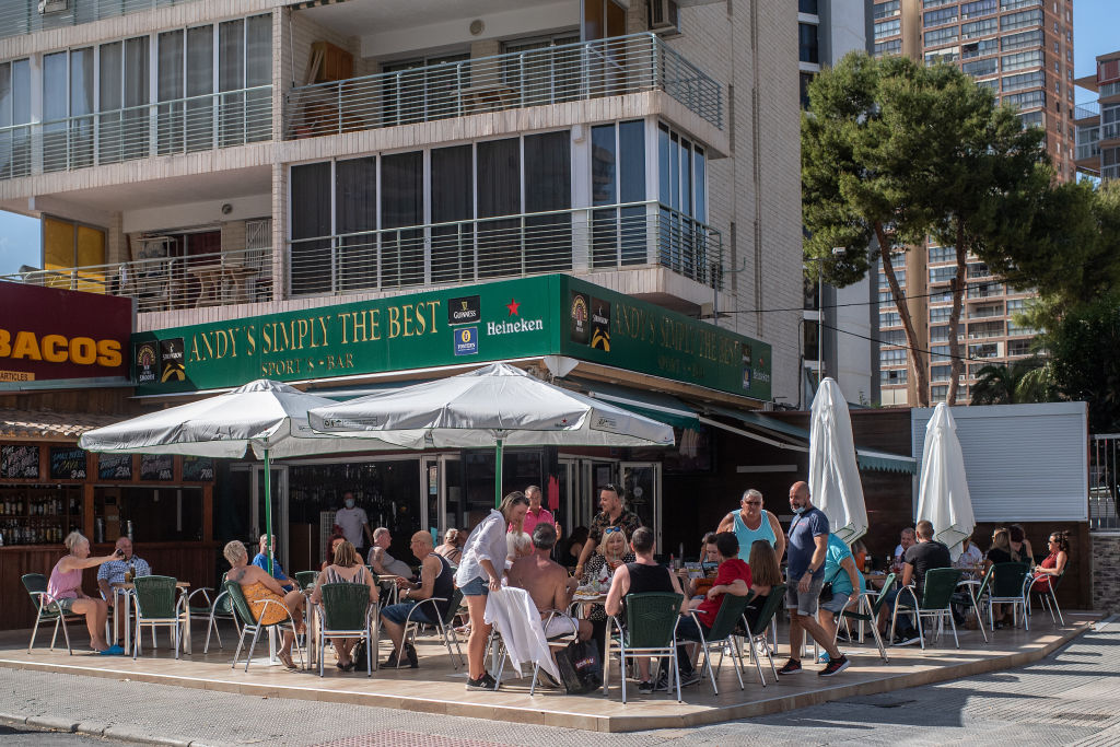 Customers at a bar in Benidorm, Spain, on May 11.