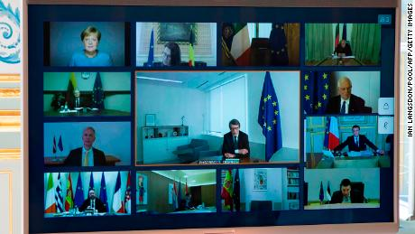 A picture shows a video conference call screen between European Council members, seen at the Elysee Palace in Paris, on March 26, 2020, to discuss the coordination of EU efforts to deal with the outbreak of covid-19.