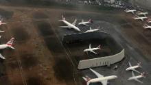 A British Airways plane sat parked at Heathrow.