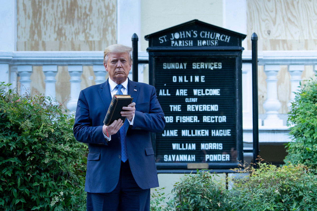 Trump defends his 'photo op' while attending a church damaged by fire
