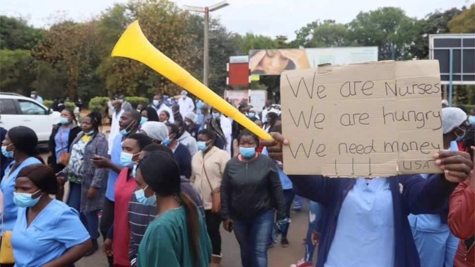 Zimbabwe is suffering a severe economic crisis - on Wednesday nurses demonstrated over low pay