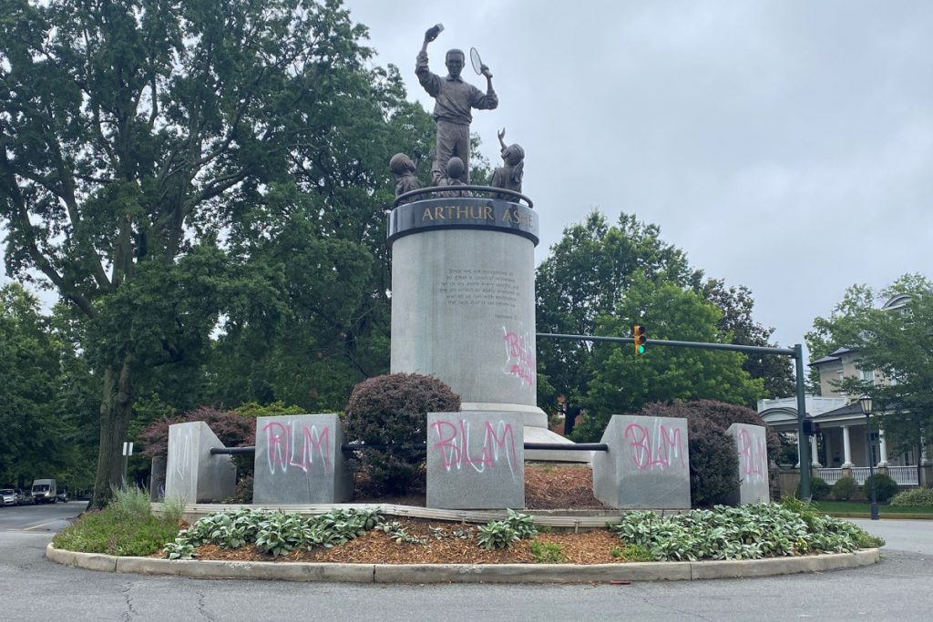 Arthur Ashe Statue Spray-Painted With 'White Lives Matter'