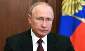 Russia's president Vladimir Putin delivers a televised address to the nation in Moscow