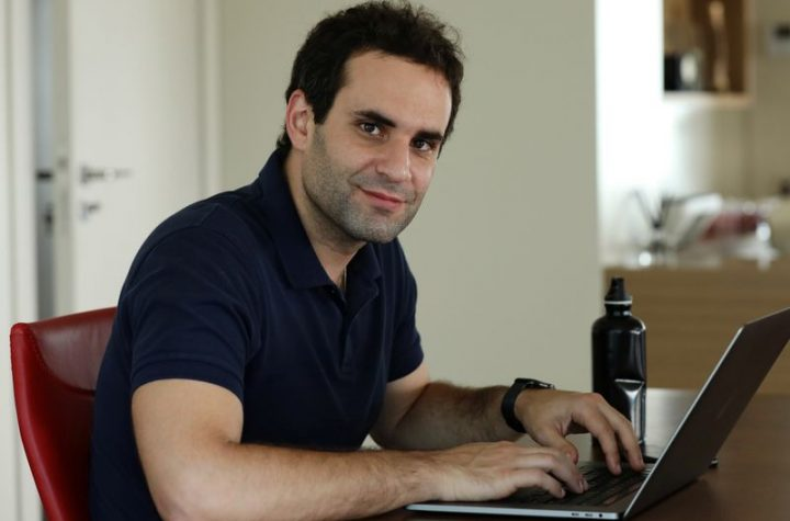 © Reuters. Lebanese film maker Jimmy Keyrouz is pictured at his home in Naccache