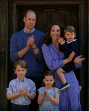 Duke and Duchess of Cambridge and their children taking part in the nationwide Clap for Carers initiative to recognise and support NHS workers and carers fighting the coronavirus pandemic.