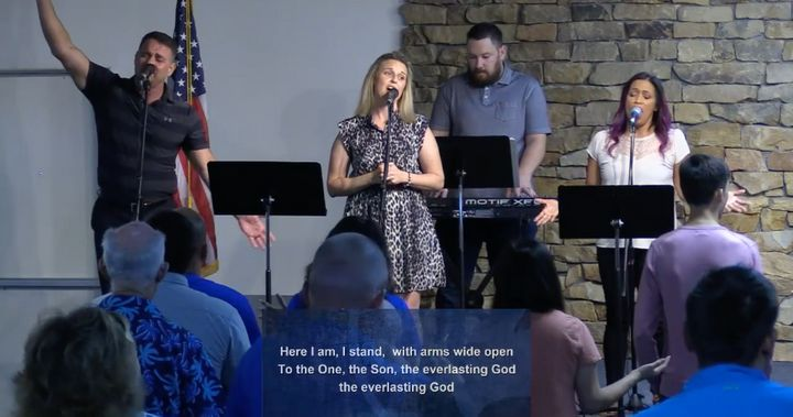 Singers perform at Calvary Chapel of San Antonio during a church service on June 21.