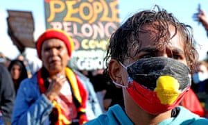 Aboriginal protesters at a Black Lives Matters event in Perth