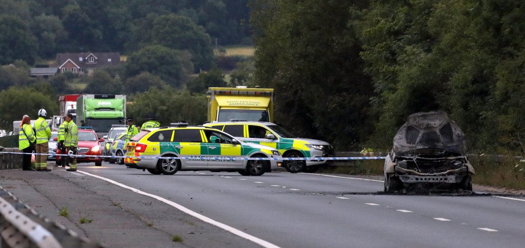 The scene on the A21 in Kent where LSE law graduate Azra Kemal's car set alight before she fell to her death down a gap between the carriageways of the   Medway Viaduct