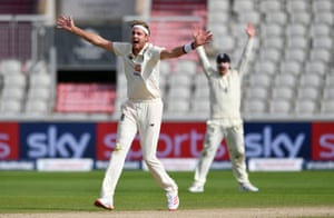 Broad appeals successfully for the wicket of Dowrich.