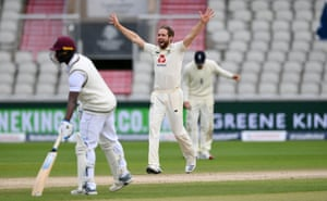 Woakes appeals successfully for the wicket of Chase.