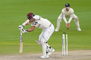 Gabriel, bowled by Woakes for a duck to end the innings.