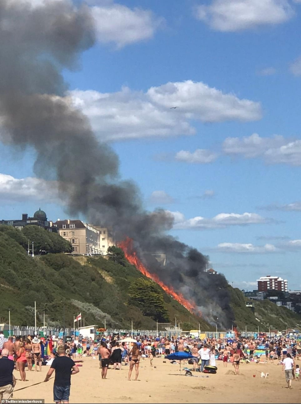 A huge fire has erupted on Bournemouth beach, where crowds of sun-seekers are enjoying the warm weathe