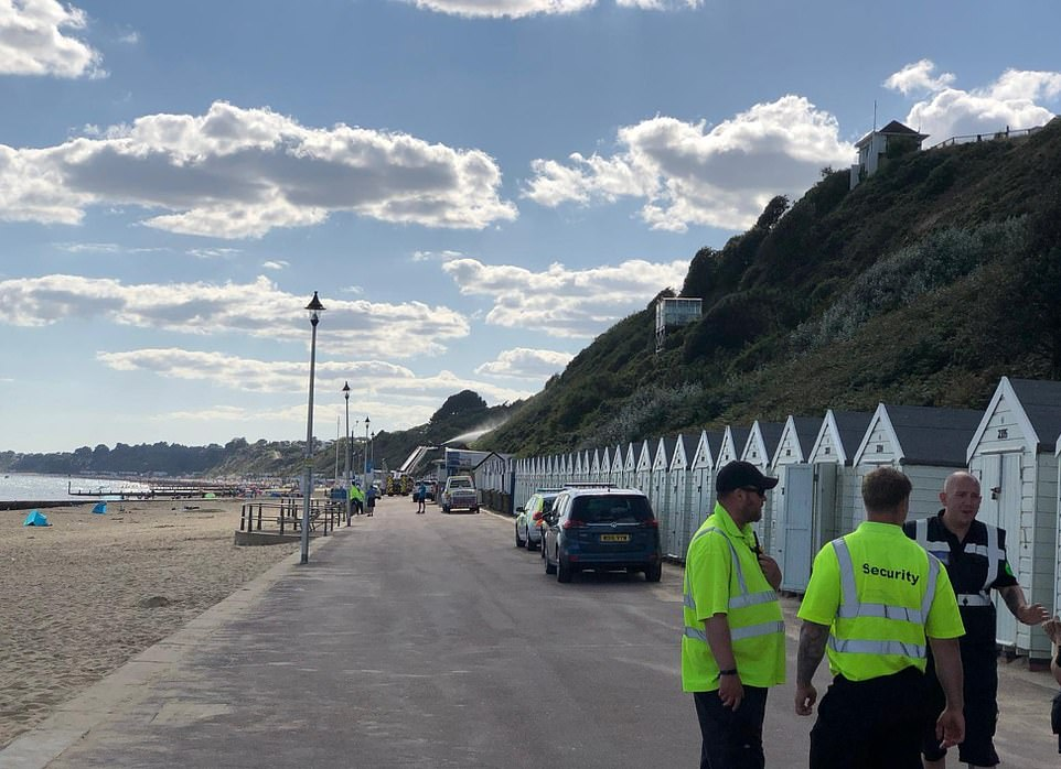 Eight fire crews raced to scene at 3.50pm and put out the fire in the beach huts and set about tackling the fire on the cliff. The blaze on the cliff has now been brought under control and South Western Ambulance Service said there were no reports of any injuries.