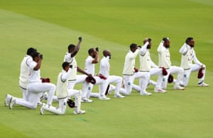 West Indies' players kneel in support of the Black Lives Matter campaign.