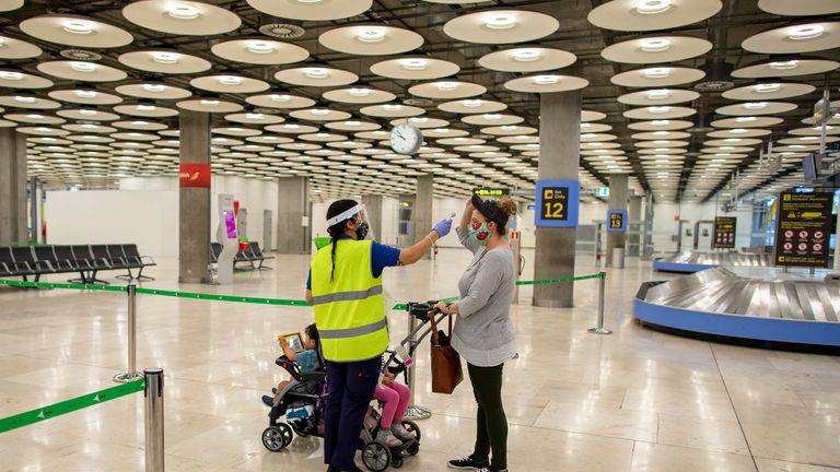 Temperature checks at Adolfo Suarez Madrid-Barajas Airport in Spain