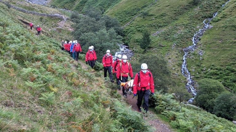 The rescue lasted for five hours. Pic: Wasdale Mountain Rescue Team