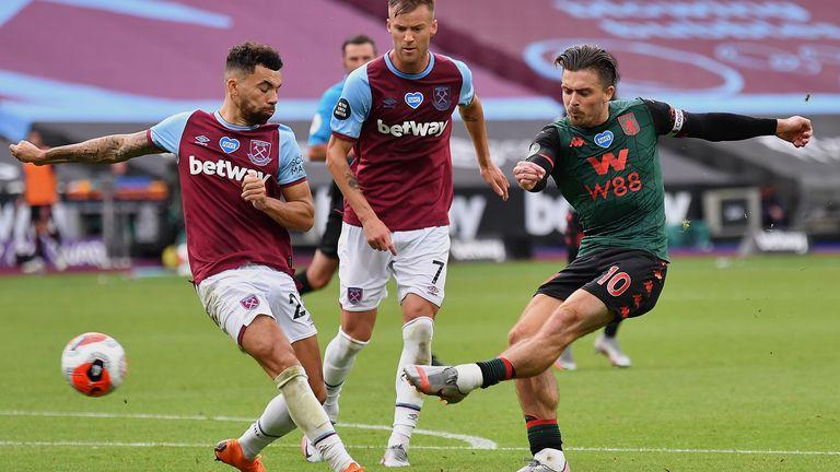 Jack Grealish scores Aston Villa's goal against West Ham