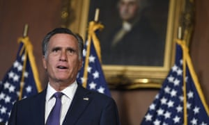 Senator Mitt Romney speaks during a news conference on Capitol Hill in Washington, Monday, July 27, 2020, to highlight the Republican proposal for the next coronavirus stimulus bill.
