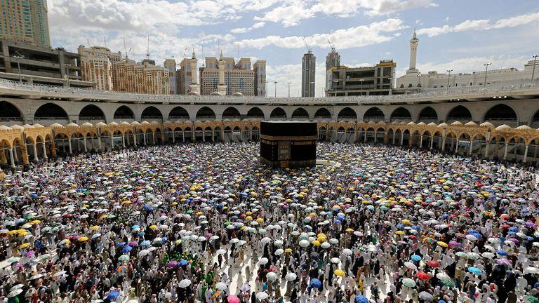 Muslim pilgrims perform the final walk around the Kaaba in 2019