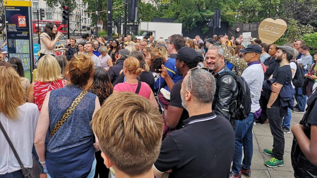 Demonstrators gathered in Hyde Park without masks
