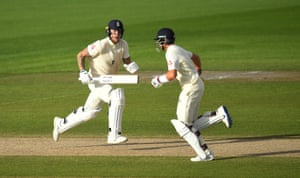 Stokes and Root run between the wickets as England finish the days play with a lead of 219.