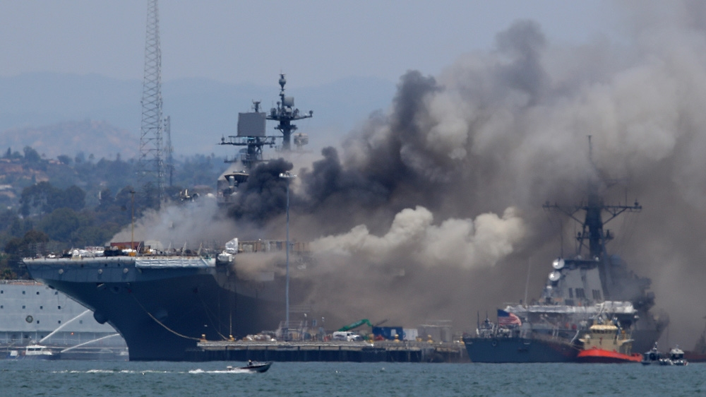 Explosion, fire on US navy ship at base in San Diego: 21 injured | News