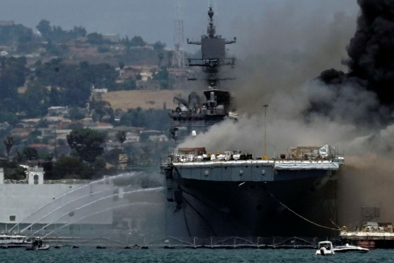 © Reuters. Smoke rises from a fire on board the U.S. Navy amphibious assault ship USS Bonhomme Richard at Naval Base San Diego