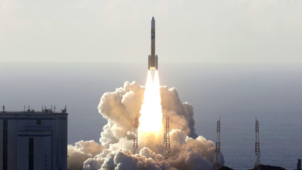 An H-2A rocket carrying the Hope Probe, developed by the Mohammed Bin Rashid Space Centre in the United Arab Emirates for the Mars explore, lifts off from the launching pad at Tanegashima Space Center on the southwestern island of Tanegashima, Japan. Pic: Kyodo