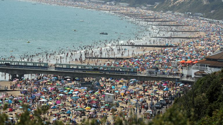 Bournemouth beach was packed as temperatures soared on Friday