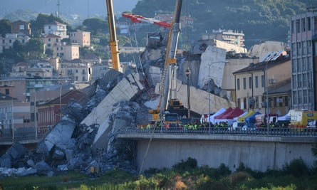 The collapsed Morandi bridge on 15 August 2015, the day after the disaster