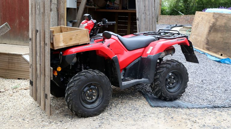 The trio were dragging this stolen quad bike away when PC Harper stopped them