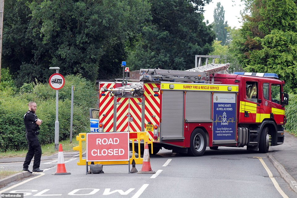Around 60 properties, home to around 100 people, have been evacuated from Heather Drive in Ascot, where homes are sold for around £2million, due to plumes of smoke in the air