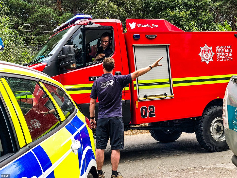 Surrey Fire and Rescue Service said it sent 10 fire engines, two water carriers and 10 other vehicles to tackle the blaze