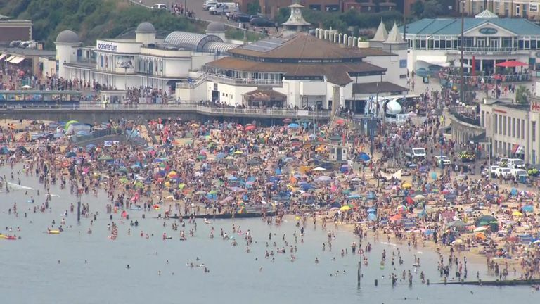 People have once again flocked to beaches in Bournemouth