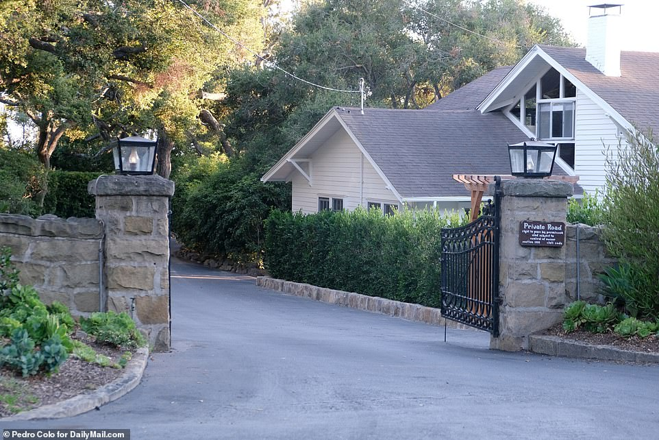 The home sits on a private road in an exclusive area of Santa Barbara, home to many celebrities