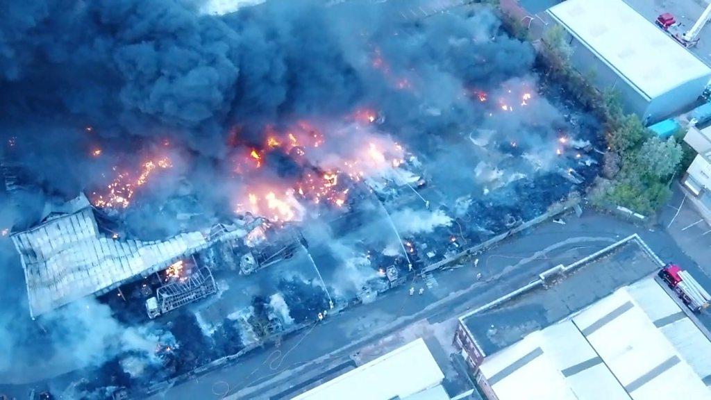 Birmingham fire: Crews still at Tyseley plastics factory blaze