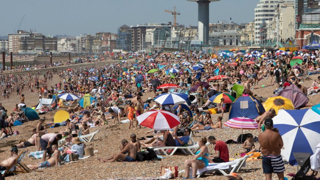 Brighton beach was packed despite as people enjoyed the hot weather