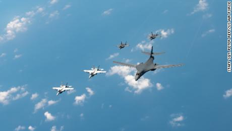 US Navy F/A-18s, Marine Corps F-35s and a US Air Force B-1B bomber conduct a large-scale joint and bilateral integration training exercise earlier this month.
