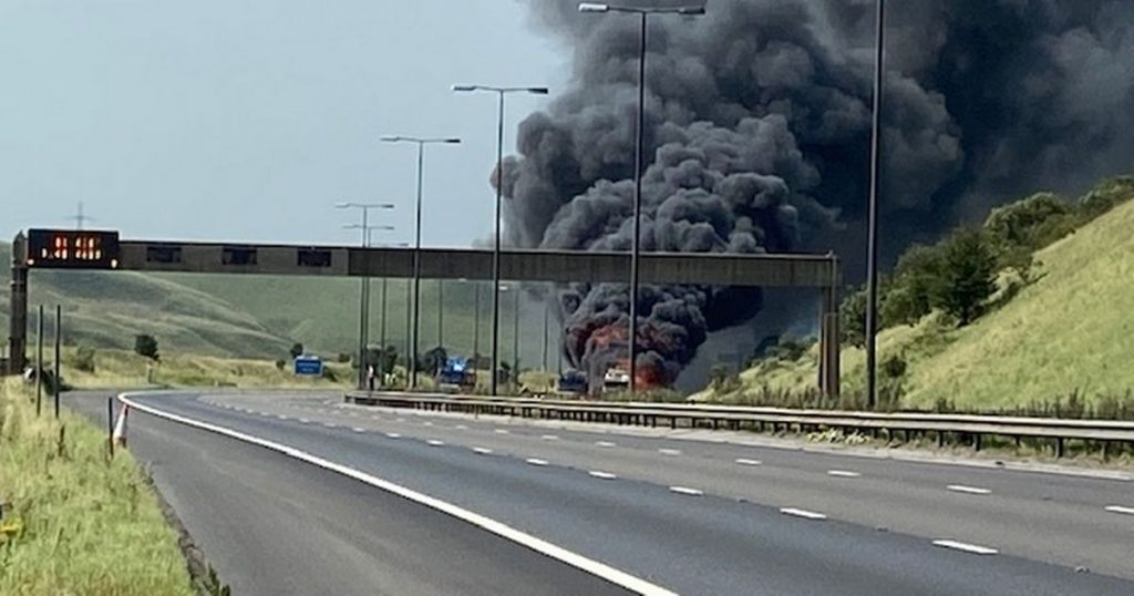 LIVE: M62 closed in both directions after huge HGV fire - updates
